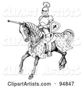 Black and White Jousting Knight Riding on His Steed