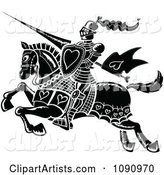 Black and White Jousting Knight with Hearts