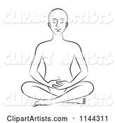 Black and White Line Drawing of a Man Meditating with His Hands in His Lap