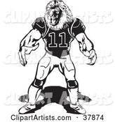 Black and White Lion Football Player