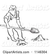 Black and White Man Digging