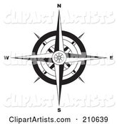 Black and White Ornate Compass Rose