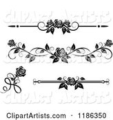 Black and White Ornate Rose Borders and Page Rules