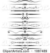 Black and White Ornate Rule and Border Design Elements 3
