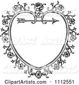 Black and White Ornate Vintage Floral Heart and Arrow Frame