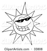 Black and White Outline of a Cool Sun Character Wearing Shades and Smiling