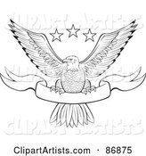 Black and White Outlined Bald Eagle with Stars and a Banner