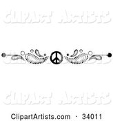 Black and White Paisley and Peace Symbol Header, Divider, Banner or Lower Back Tattoo Design