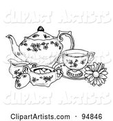 Black and White Pen and Ink Styled Tea Set