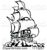 Black and White Pirate Ship 3