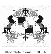 Black and White Rearing Horse Crest with Paisleys