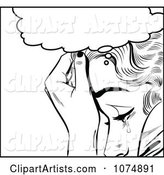 Black and White Retro Pop Art Woman Crying Under a Thought Balloon