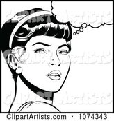 Black and White Retro Pop Art Woman in Deep Thought