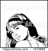 Black and White Retro Pop Art Woman Looking Back over Her Shoulder