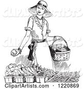 Black and White Retro Woman Shopping for Produce