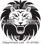 Black and White Roaring Lion Face