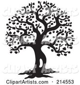 Black and White Silhouetted Leafy Tree Design - 2