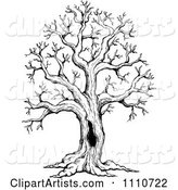Black and White Sketched Hollow Bare Tree