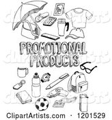 Black and White Sketched Promotional Products Text and Retail Items