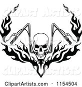 Black and White Skull with Flaming Motorcycle Handlebars