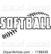 Black and White Softball Text over Stitches