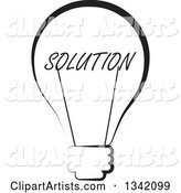 Black and White Solution Text Light Bulb