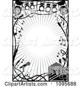 Black and White Stage Lighting and Music Frame
