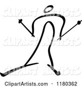 Black and White Stick Drawing of a Cross Country Skier