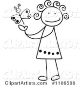 Black and White Stick Drawing of a Happy Girl Playing with a Butterfly