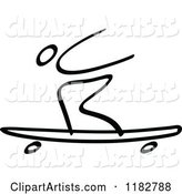 Black and White Stick Drawing of a Longboard Skater
