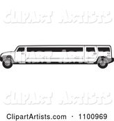 Black and White Stretch Limo Hummer