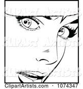 Black and White Surprised Retro Pop Art Woman and Word Balloon