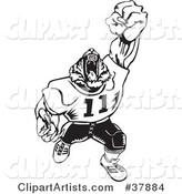 Black and White Tiger Football Player Roaring