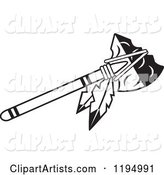 Black and White Tomahawk with Feathers