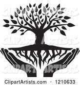Black and White Tree with Roots and Uplifted Hands