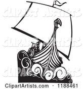 Black and White Viking Longship Boat Woodcut