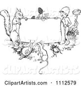 Black and White Vintage Frame with Animals and a Gnome