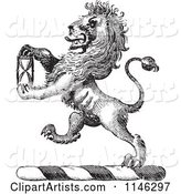 Black and White Vintage Lion Crest with an Hourglass