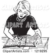 Black and White Vintage Teenage Girl Doing Homework at a Desk