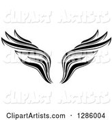 Black and White Wing Tattoo Design