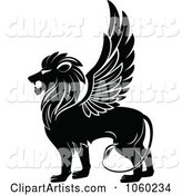 Black and White Winged Lion Logo - 1