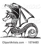Black and White Woodcut Girl Hugging a Dragon