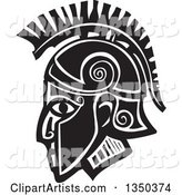 Black and White Woodcut Hoplight Grecian Spartan Soldier in Profile
