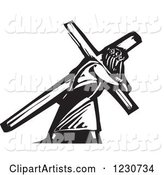 Black and White Woodcut Jesus Christ Carrying a Cross