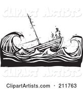 Black and White Woodcut Scene of People at the Tip of a Sinking Ship