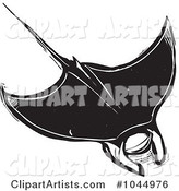 Black and White Woodcut Style Manta Ray
