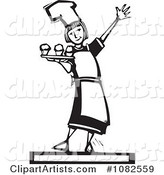 Black and White Woodcut Styled Baker Girl Serving Cupcakes