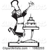 Black and White Woodcut Styled Girl Presenting a Cake