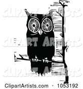 Black and White Woodcut Styled Perched Owl