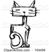 Black and White Woodcut Styled Sitting Cat